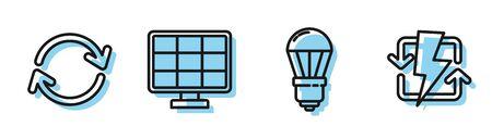 Set line LED light bulb, Refresh, Solar energy panel and Recharging icon. Vector