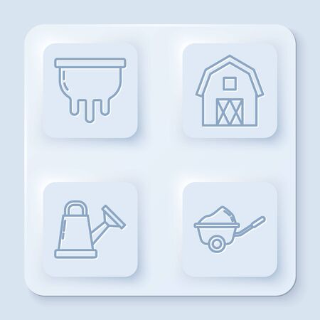 Set line Udder, Farm House concept, Watering can and Wheelbarrow with dirt. White square button. Vector