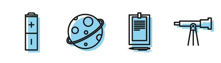 Set line Clipboard with document, Battery, Planet and Telescope icon. Vector