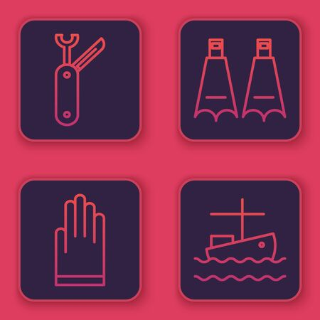Set line Swiss army knife, Gloves, Rubber flippers for swimming and Fishing boat on water. Blue square button. Vector