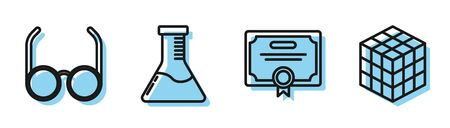 Set line Certificate template, Glasses, Test tube and flask chemical laboratory and Rubik cube icon. Vector