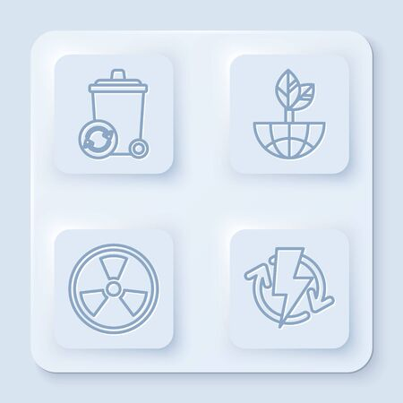 Set line Recycle bin with recycle symbol, Earth globe and leaf, Radioactive and Recharging. White square button. Vector Ilustracja