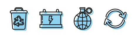 Set line Planet earth and a recycling, Recycle bin with recycle symbol, Car battery and Refresh icon. Vector