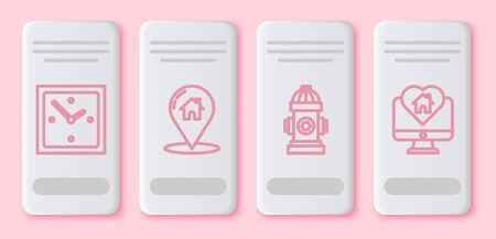 Set line Clock, Map pointer with house, Fire hydrant and Monitor with house in heart shape. White rectangle button. Vector