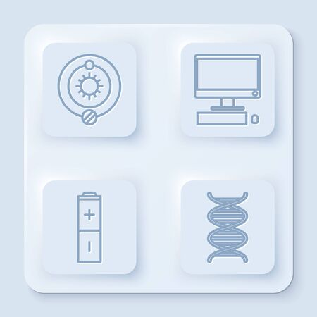 Set line Solar system, Computer monitor with keyboard and mouse, Battery and DNA symbol. White square button. Vector