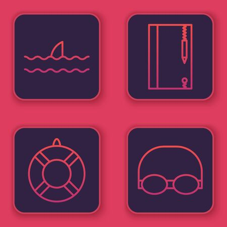 Set line Shark fin in ocean wave, Lifebuoy, Underwater note book and pencil and Glasses and cap for swimming. Blue square button. Vector