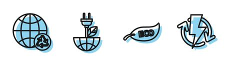 Set line Leaf Eco symbol, Planet earth and a recycling, Electric saving plug in leaf and Recharging icon. Vector Ilustracja