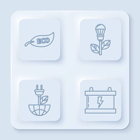 Set line Leaf Eco symbol, Light bulb with leaf, Electric saving plug in leaf and Car battery. White square button. Vector
