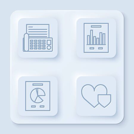 Set line Fax machine, Document with graph chart, Document with graph chart and Heart with shield. White square button. Vector Illustration