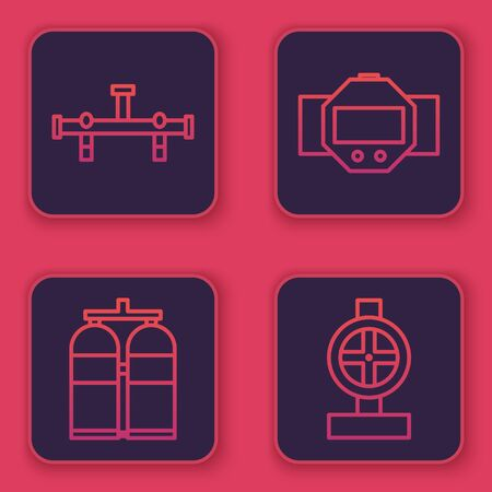 Set line Manifold, Aqualung, Diving watch and Industry metallic pipes and valve. Blue square button. Vector Ilustracja