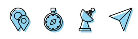 Set line Radar, Map pin, Compass and Paper airplane icon. Vector Illustration