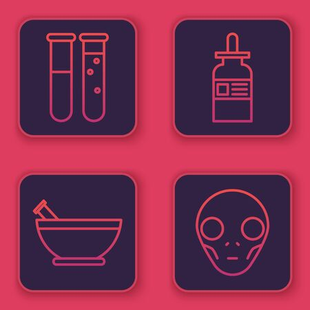 Set line Test tube and flask chemical laboratory, Mortar and pestle, Glass bottle with a pipette and Extraterrestrial alien face. Blue square button. Vector Ilustracja