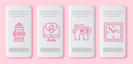 Set line Fire hydrant, Monitor with house in heart shape, House with dollar symbol and Clock. White rectangle button. Vector