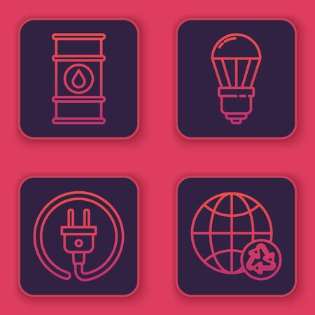 Set line Oil barrel line, Electric plug, LED light bulb and Planet earth and a recycling. Blue square button. Vector Ilustracja