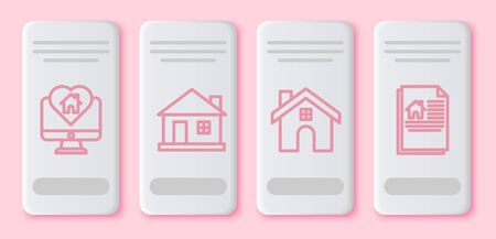 Set line Monitor with house in heart shape, House, House and House contract. White rectangle button. Vector