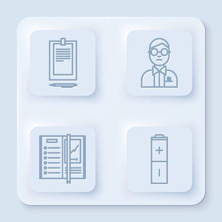 Set line Clipboard with document, Scientist, Notebook and Battery. White square button. Vector