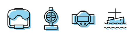 Set line Diving watch, Diving mask, Industry metallic pipes and valve and Fishing boat on water icon. Vector