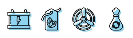 Set line Wind turbine, Car battery, Tag with leaf symbol and Garbage bag with recycle icon. Vector