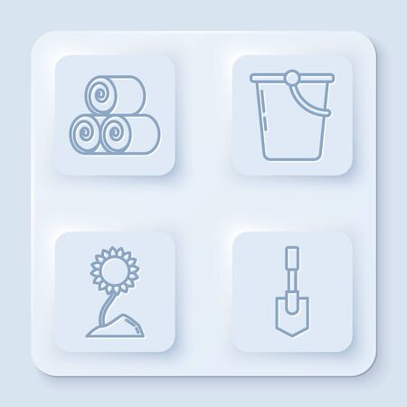 Set line Roll of hay, Bucket, Sunflower and Shovel. White square button. Vector