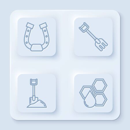 Set line Horseshoe, Garden rake, Shovel in the ground and Honeycomb. White square button. Vector