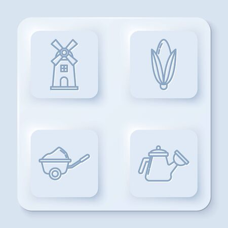 Set line Windmill, Corn, Wheelbarrow with dirt and Watering can. White square button. Vector