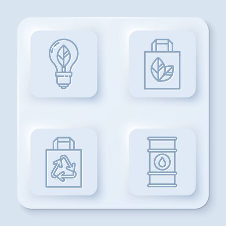 Set line Light bulb with leaf, Paper shopping bag with recycle, Paper shopping bag with recycle and Oil barrel line. White square button. Vector