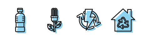 Set line Recharging, Bottle of water, Light bulb with leaf and Eco House with recycling symbol icon. Vector