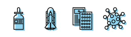 Set line Pills in blister pack, Glass bottle with a pipette, Space shuttle and rockets and Bacteria icon. Vector