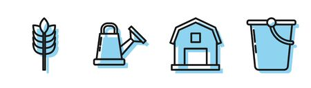 Set line Farm House concept, Cereals with rice, wheat, corn, oats, rye, Watering can and Bucket icon. Vector