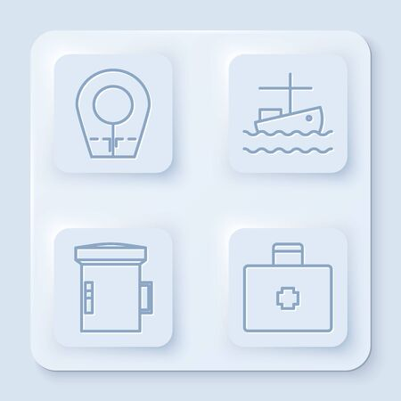 Set line Diving hood, Fishing boat on water, Big flashlight for diver and First aid kit. White square button. Vector