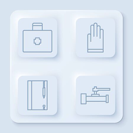 Set line First aid kit, Gloves, Underwater note book and pencil and Industry metallic pipes and valve. White square button. Vector Ilustração