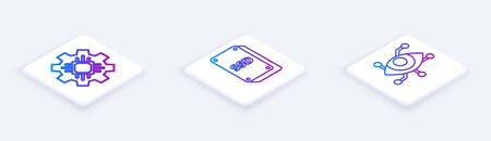 Set Isometric line Processor, SSD card and Virtual reality. White square button. Vector