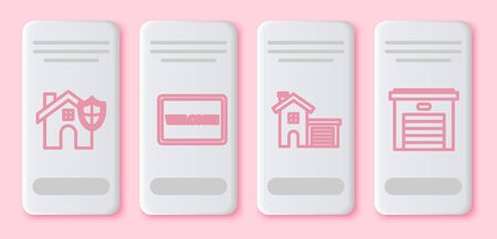 Set line House with shield, Doormat with the text Welcome, House and Garage. White rectangle button. Vector Illustration