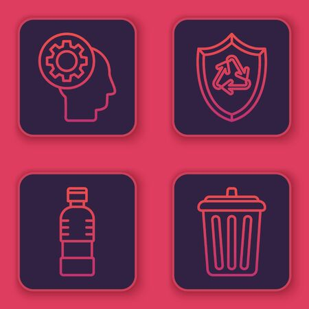 Set line Human head with gear inside, Bottle of water, Recycle symbol inside shield and Trash can. Blue square button. Vector Stock Illustratie
