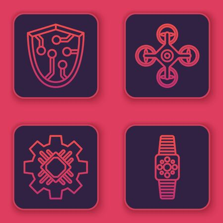 Set line Cyber security, Processor, Drone and Smartwatch. Blue square button. Vector Illustration