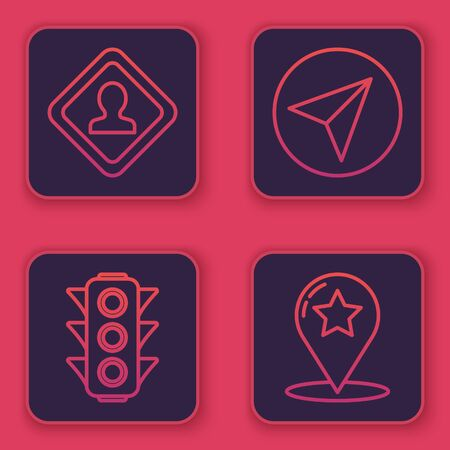 Set line Road traffic sign, Traffic light, Paper airplane and Map pointer with star. Blue square button. Vector Stock Illustratie