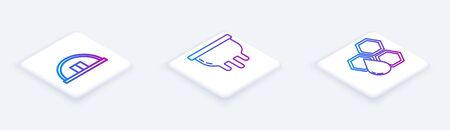 Set Isometric line Hangar, Udder and Honeycomb. White square button. Vector