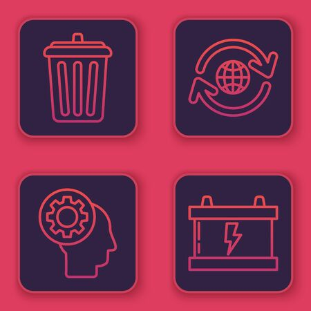 Set line Trash can, Human head with gear inside, Planet earth and a recycling and Car battery. Blue square button. Vector