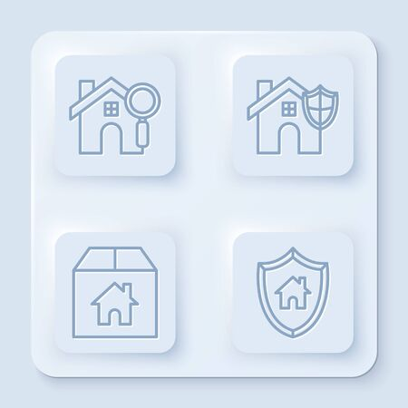 Set line Search house, House with shield, Cardboard box with house and House with shield. White square button. Vector