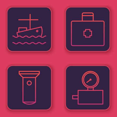 Set line Fishing boat on water, Flashlight, First aid kit and Gauge scale. Blue square button. Vector