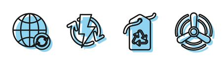 Set line Tag with recycle symbol, Planet earth and a recycling, Recharging and Wind turbine icon. Vector