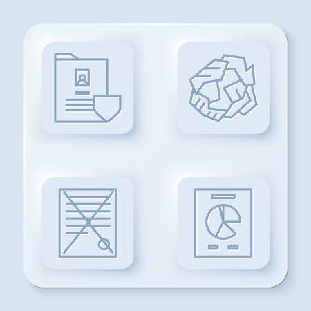 Set line Document with shield, Crumpled paper ball, Delete file document and Document with graph chart. White square button. Vector Vektoros illusztráció