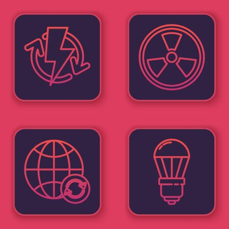 Set line Recharging, Planet earth and a recycling, Radioactive and LED light bulb. Blue square button. Vector
