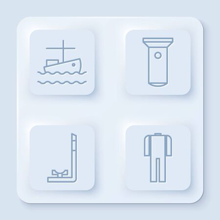 Set line Fishing boat on water, Flashlight, Snorkel and Wetsuit for scuba diving. White square button. Vector
