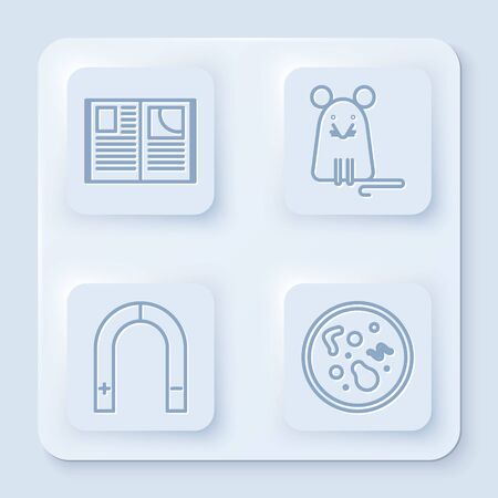 Set line Open book, Rat, Magnet and Bacteria. White square button. Vector