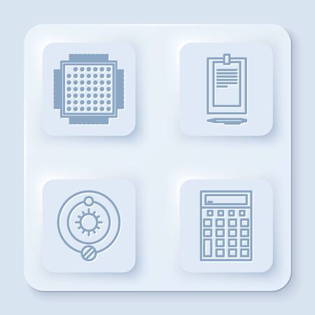 Set line Processor, Clipboard with document, Solar system and Calculator. White square button. Vector Illustration