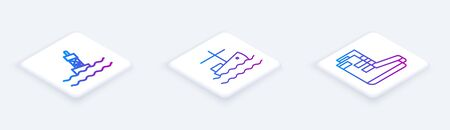 Set Isometric line Floating buoy on the sea, Fishing boat on water and Boots. White square button. Vector Stock Illustratie