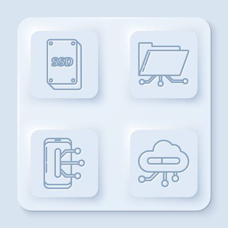 Set line SSD card, Folder and lock, Smartphone, mobile phone and Internet of things. White square button. Vector