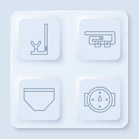 Set line Snorkel, Diving belt, Swimming trunks and Wind rose. White square button. Vector