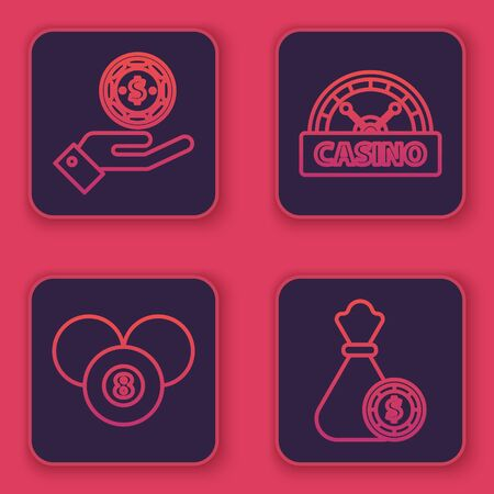 Set line Hand holding casino chips, Billiard pool snooker 8 ball, Casino signboard and Money bag and casino chips. Blue square button. Vector